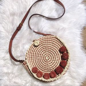 Fossil| Faye Straw Round Convertible Crossbody Bag